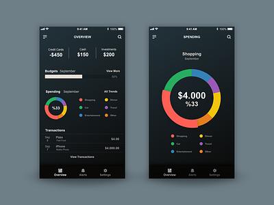 Personal Finance App - Adobe Daily Challange 01 chart dark finance app adobexd