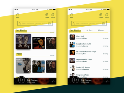Play Note Music App home screen list page yellow app music app adobexd