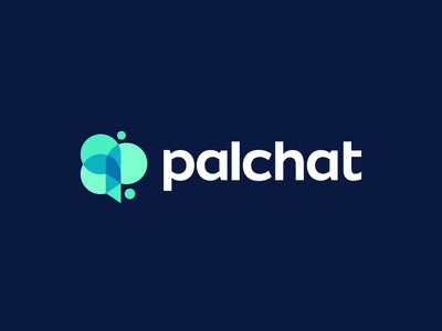 PalChat Logo Design communication social network p monogram balloons speech chat talk bubble modern vibrant digital icon icons symbol graphic design designer geometry geometric clever smart creative business cards stationery logo brand branding identity