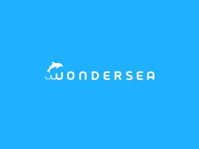 Wonder Sea Logo Design logo icon identity design mark branding brand logotype dolphin wordmark ocean water