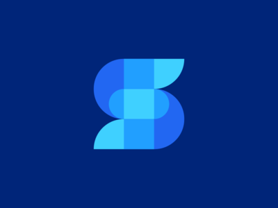 Another S design ios android mobile app phone tech fintech technology ocean sea wave modern vibrant digital logo icon icons symbol graphic design designer letter s lettermark geometry geometric clever smart creative business cards stationery brand branding identity color colour blue