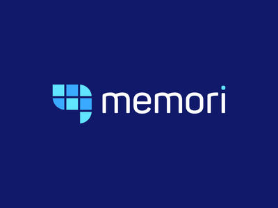 Memori elephant memory brain tech fintech technology modern vibrant digital mobile app phone logo ios android icon icons symbol graphic design designer geometry geometric color colour blue clever smart creative business cards stationery brand branding identity