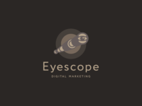 Eyescope Logo Design mobile app phone digital marketing advertising eye scope vision logo icon icons symbol graphic design designer geometry geometric color colour brown clever smart creative business cards stationery brand branding identity