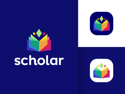 Scholar Logo Design visual identity vibrant transparency spark smart modern logo symbol icons icon graphic design designer crypto fintech app creative colorful clever book brand identity branding logo