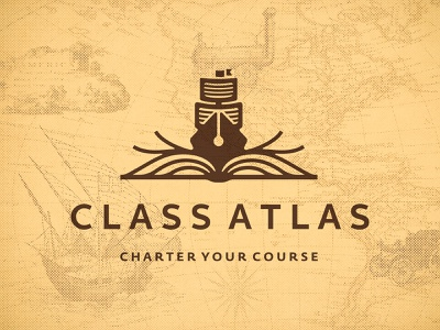 Class Atlas Logo Design ocean creative graphic design designer symbol icons icon education smart clever sails pen ship sea waves wave branding brand logo