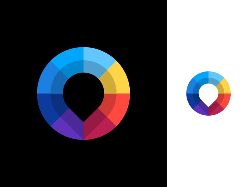 Pin Mark Logo Design logo icon icons brand branding identity mark design graphic design designer business cards stationery symbol pin location wheel colorful color colors negative space