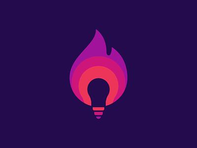 Hot Idea Logo Design t h e q u i c k b r o w n f o x j u m p e d o v e r l a z y d o g negative space creativity clever smart creative bulb lightbulb idea flame graphic design designer symbol design identity branding brand icon logo