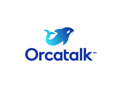 Orcatalk Logo Design whale tech technology app mobile startup talk ocean sea dolphin orca symbol icons icon business cards stationery graphic design designer identity branding brand logo
