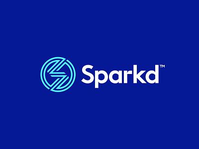 Sparkd Logo Design logotype logomark symbol smart clever modern flat logodesigner logodesign zap lightning electricity bolt spark icons icon identity branding brand logo
