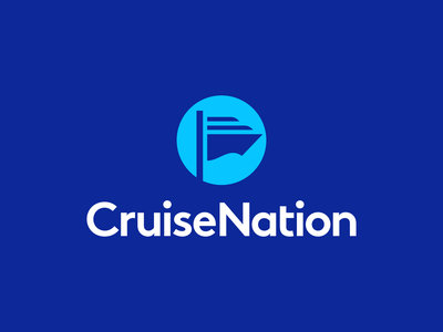 Cruise Nation Logo Design clever nation creative negative space waves wave ocean cruise boat flag ship logodesigner logodesign symbol icons icon identity branding brand logo