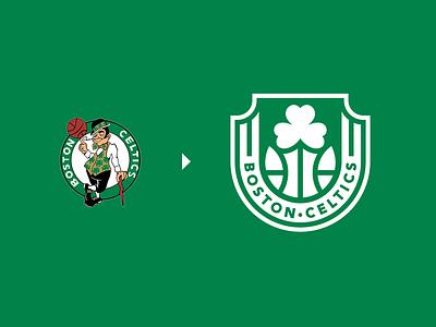 Boston Celtics (NBA) Logo Redesign ball creative symbol clever logodesigner logodesign clover badge nhl nfl nba celtics boston sports sport basketball identity branding brand logo