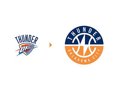 Oklahoma City Thunder (NBA) Logo Redesign crest sports sport badge nhl nfl basketball nba bolt thunder oklahoma creative symbol icons icon design identity branding brand logo