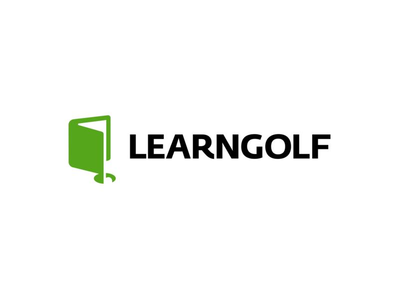 Learn Golf Logo Design clever startup app smart modern symbol creative ball flag negative space sports sport golf identity design icons icon branding brand logo