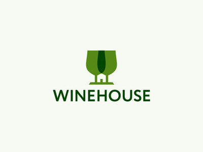 Winehouse Logo Design beer home drink logotype logodesigner logodesign smart wineglass glasses house wine negative space clever identity design icons icon branding brand logo