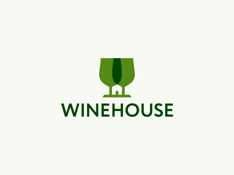 Winehouse Logo Design beer home drink logotype logodesigner logodesign smart wineglass glasses house wine negative space clever identity design icons icon branding brand logo
