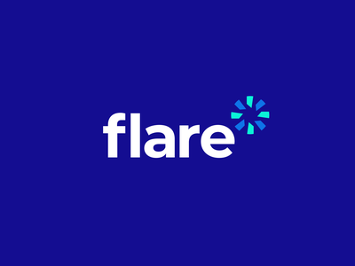 Flare app software tech logomark logotype blue guide sky star light flare clever icons mark branding brand identity design icon logo