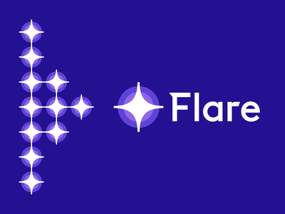 Flare Logo Design logotype logomark ios fintech tech startup app guide star light flare business cards stationery icons mark branding brand identity design icon logo