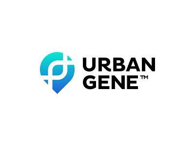 Urban Gene Logo Design - Pin Marker / City Streets / DNA Gene j u m p e d o v e r l a z y d o g t h e q u i c k b r o w n f o x logotype logodesign app appicon tech software gps street location pin gene dna brand identity design icon logo