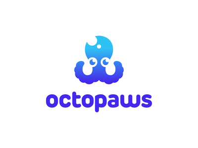 Octopaws Logo Design symbol clever creative pet character mascot ocean sea water animal animals nature toys octopus appicon startup software tech technology fintech logotype logodesign icons mark branding brand identity design icon logo