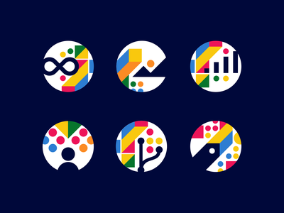 Engram Icons - Abstract / Gestalt / Negative Space / Dynamic modern vibrant geometry geometric colorful startup tech technology fintech software creative symbol abstract icondesign logodesign icons mark branding brand identity design icon logo