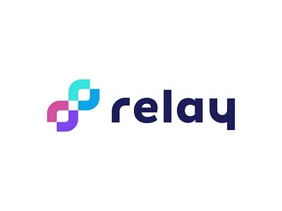 Relay Logo Design modern finance cryptocurrency j u m p e d o v e r l a z y d o g t h e q u i c k b r o w n f o x blockchain appicon crypto software tech creative symbol logotype logodesign branding brand design icon logo