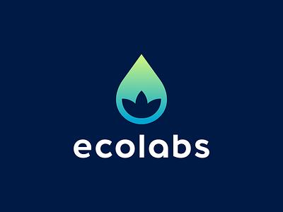 Ecolabs Logo Design gradient modern nature leaf flower drop blockchain crypto appicon software tech creative symbol logotype logodesign branding brand design icon logo