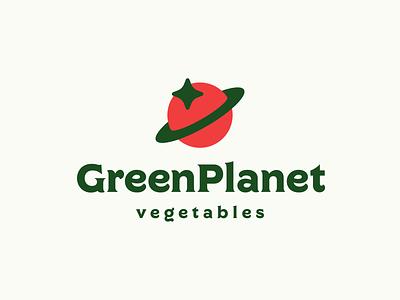 Green Planet Logo Design - Planet / Ring / Tomato / Star smart clever branding advertising software appicon tech star planet green vegetable tomato creative symbol logotype logodesign brand design icon logo