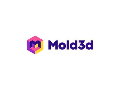 Mold3d Logo Design Concept - 3D printing / Cube / Hexagon l a z y d o g j u m p e d o v e r t h e q u i c k b r o w n f o x geometric modern clever 3d hexagon cube cryptocurrency blockchain crypto software tech logodesign logotype brand design icon logo