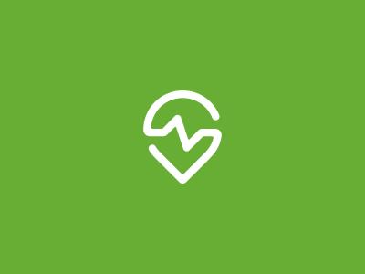 Find a Fitness Logo Design logo icon identity design brand branding pin cardio heart beat health fitness gym