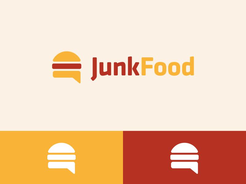 Junkfood Logo Design logo icon identity design brand branding junkfood burger speech bubble chat hamburger