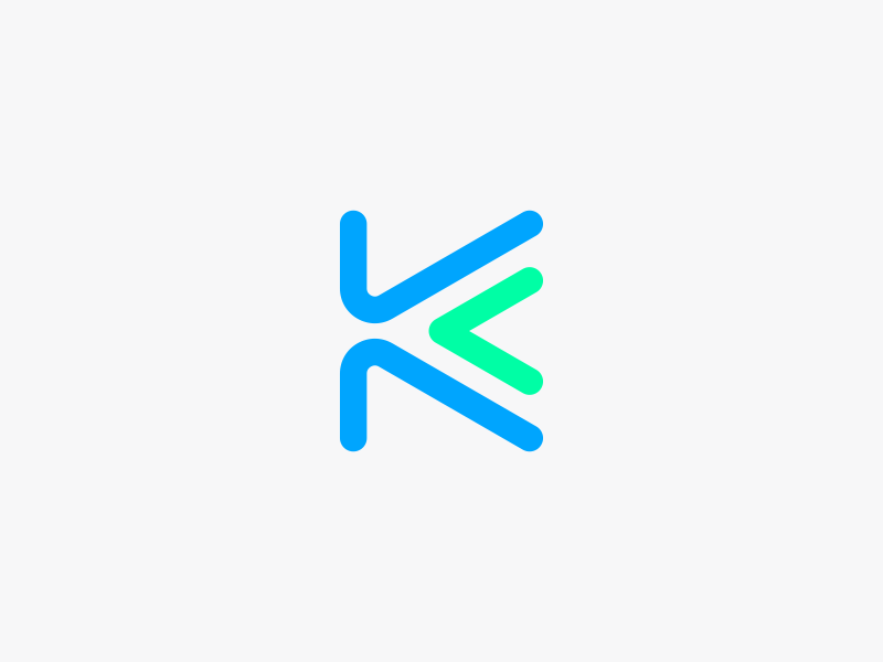 K Logo Design line blue monogram arrow k branding brand design identity icon logo