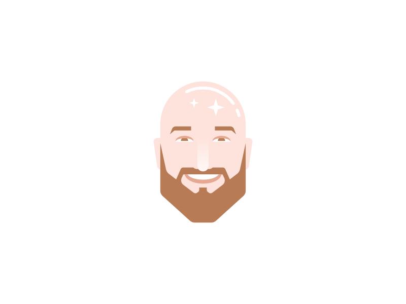 Head Icon Design sparkle beard bald face head branding brand design identity icon logo