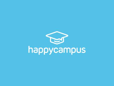Happy Campus Logo Design graduation hat education university campus happy branding brand design identity icon logo
