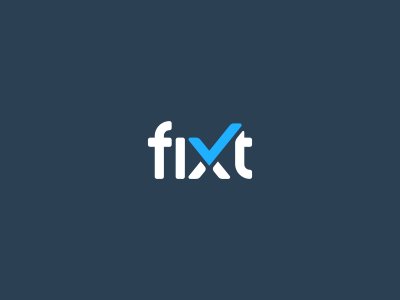 Fixt Logo Design checkmark tablet phone repair fix branding brand design identity icon logo