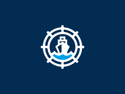 Ship + Wheel Logo Design