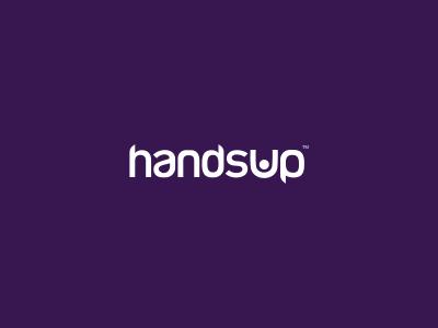 Hands Up! Logo Design freelance logo designer logo design logo designer clever simple hands stick figure arrest purple design agency waving logo hand up wordmark pink