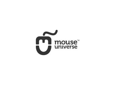 Mouse Universe Logo Design design agency graphic design freelance designer clever monogram rat logo design logo designer graphic designer simple freelance logo designer hidden negative space wire mu logo mouse universe tail negative space icon