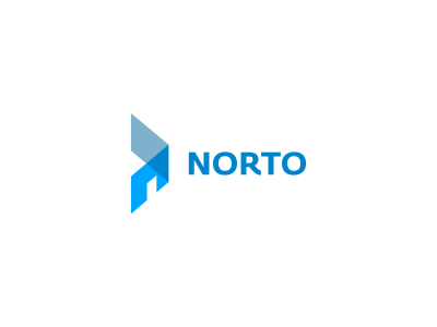 Norto Logo Design (IN USE BY A CLIENT) logo design simple real estate forward freelance logo designer logo designer graphic designer graphic design freelance designer clever intersect overlap transparency design agency realty negative space house ahead arrow right direction logo norto n construction home blue icon design