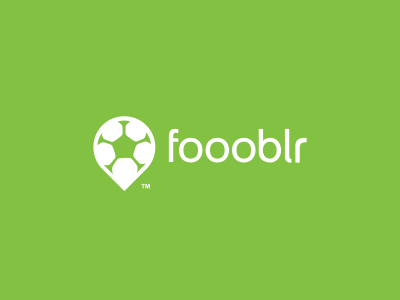 Foooblr Logo Design logo icon design football soccer pin live matches events stream online community forum discussions opinions news agency graphic branding brand green pitch negative space