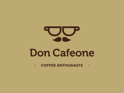 Don Cafeone logo icon design cup moustache gentlemen enthusiast coffee