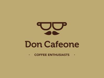 Don Cafeone logo icon design cup moustache gentlemen enthusiast coffee