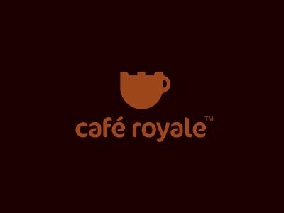Café Royale Logo Design logo icon icons design mark brand cafe coffee royale royal clever combination smart brown designer