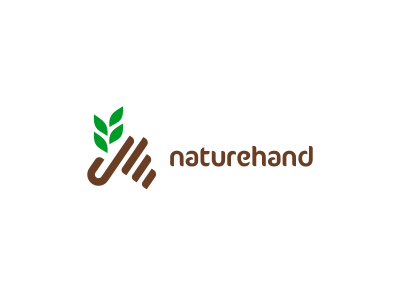 Naturehand Logo Design logo icon icons design nature leaf hand palm fingers brown tree branch green sustainability eco designer graphic freelance brand mark clever