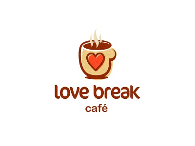 Love Break Cafe logo icon icons design cafe love break cup coffee tea pub lounge brand graphic designer brown heart smell aroma