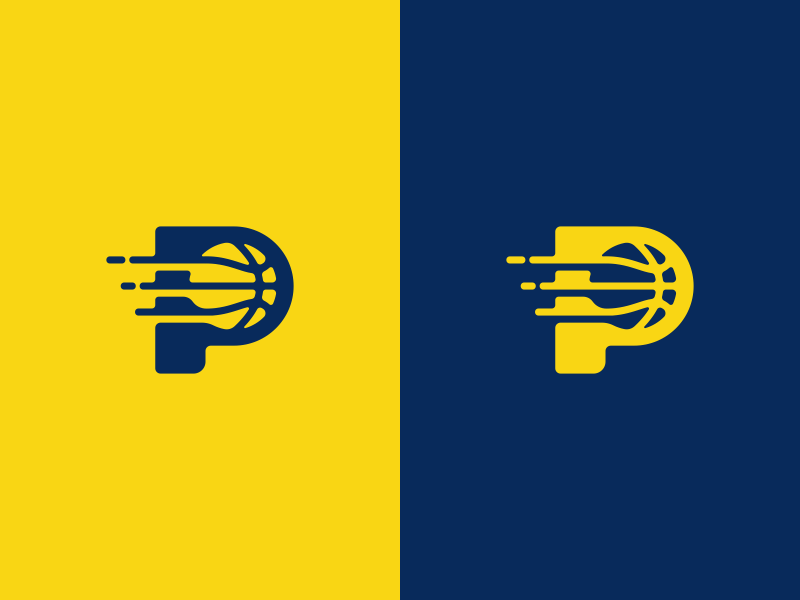 Pacers Basketball Logo Design yellow ball pacers sports basketball branding brand design identity icon logo