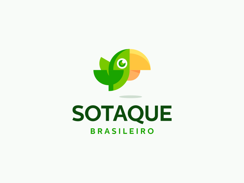 Sotaque Brasileiro Logo Design green wings nature brazil bird parrot branding brand design identity icon logo