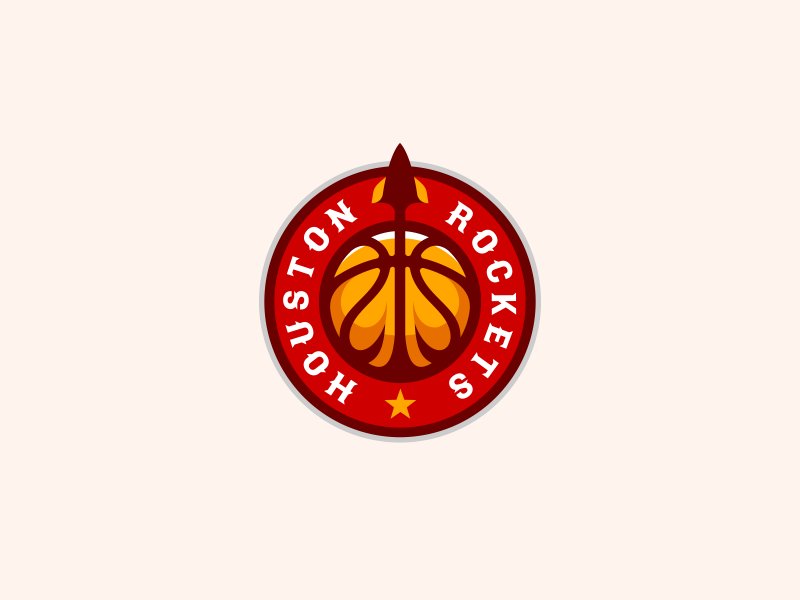 Houston Rockets Logo Design space rocket rockets ball team nba basketball branding brand design identity icon logo