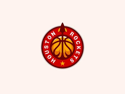Houston Rockets Logo Design gaming sports esports esport space rocket rockets ball team nba basketball branding brand design identity icon logo