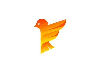 Little Bird Logo Design brnad bradn barnd loogdesign lgoodesign logodesing logo deisgn desgn desgin deisgner dsgner deisgn loog lgoo lgo logog design logo bird wings orange gradient vintage dalius stuoka negative retro space f