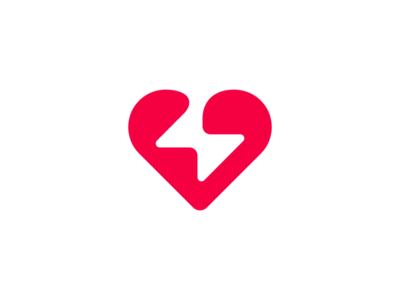 Heart + Bolt Logo Design thunder spark bolt heart designer graphic design logo design negative space design agency clever graphic designer logo designer icons mark branding brand identity design icon logo